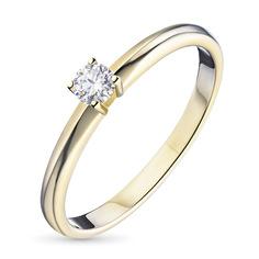 Кольцо из желтого золота с бриллиантом э03к121542 ЭПЛ Якутские Бриллианты