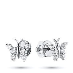 Пусеты из белого золота с бриллиантами экп09с071801 ЭПЛ Якутские Бриллианты