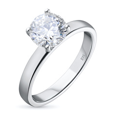Кольцо из белого золота с бриллиантом э09к011718 ЭПЛ Якутские Бриллианты
