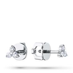 Пусеты из белого золота с бриллиантом п09с051684 ЭПЛ Якутские Бриллианты
