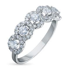 Кольцо из белого золота с бриллиантами э09к091810 ЭПЛ Якутские Бриллианты