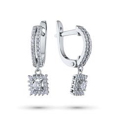 Серьги из белого золота с бриллиантами э09с051821 ЭПЛ Якутские Бриллианты