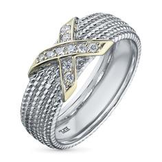 Кольцо из комбинированного золота с бриллиантом э10к081843 ЭПЛ Якутские Бриллианты