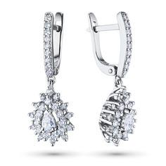 Серьги из белого золота с бриллиантами э09с071817 ЭПЛ Якутские Бриллианты