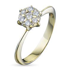 Кольцо из желтого золота с бриллиантами гд03к091702 ЭПЛ Якутские Бриллианты
