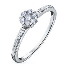 Кольцо из белого золота с бриллиантами э09к091812 ЭПЛ Якутские Бриллианты