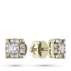 Пусеты из желтого золота с бриллиантами п03с111706 ЭПЛ Якутские Бриллианты