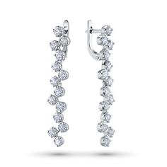 Серьги из белого золота с бриллиантами э09с081875 ЭПЛ Якутские Бриллианты