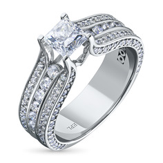 Кольцо из белого золота с бриллиантами э09к081708 ЭПЛ Якутские Бриллианты
