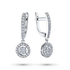 Серьги из белого золота с бриллиантами э09с021902 ЭПЛ Якутские Бриллианты