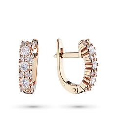 Серьги из красного золота с бриллиантами э02с081750 ЭПЛ Якутские Бриллианты