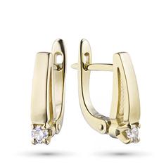 Серьги из желтого золота с бриллиантом э03с061554 ЭПЛ Якутские Бриллианты