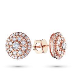 Пусеты из красного золота с бриллиантами п02с101847 ЭПЛ Якутские Бриллианты