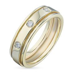 Кольцо из желтого золота с бриллиантом э03к041601 ЭПЛ Якутские Бриллианты