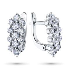 Серьги из белого золота с бриллиантами э09с101842 ЭПЛ Якутские Бриллианты