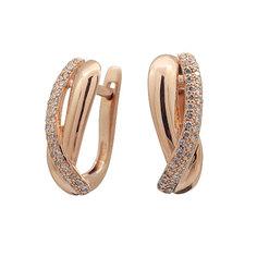 Серьги из красного золота с бриллиантом э02с101490 ЭПЛ Якутские Бриллианты