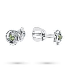 Серьги из серебра с хризолитом 203598-012-0019 ЭПЛ Якутские Бриллианты