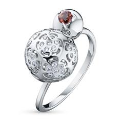 Кольцо из серебра с гранатом и фианитом 102075-006-0019 ЭПЛ Якутские Бриллианты