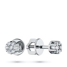 Пусеты из белого золота с бриллиантами п09с101348 ЭПЛ Якутские Бриллианты