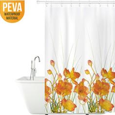 Штора для ванной комнаты Tatkraft FRENCH POPPIES, водонепроницаемый материал PEVA, магниты-утяжелители для лучшей фиксации, 12 шт овальных колец (14046)