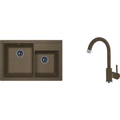 Кухонная мойка и смеситель Florentina Касси 780 коричневый FG (20.230.E0780.105 + 33.21H.1110.105)