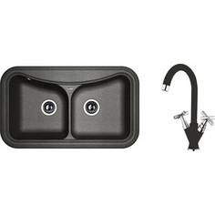 Кухонная мойка и смеситель Florentina Крит 860 черный FG (20.115.E0860.102 + 30.29H.1120.102)