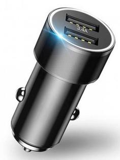 Зарядное устройство Baseus Small Screw 3.4A Dual-USB Car Charger Black CAXLD-C01