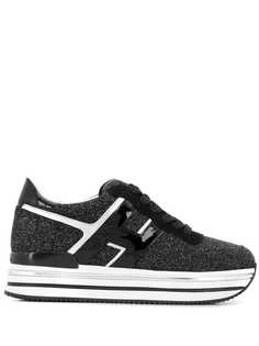Hogan кроссовки с блестками на платформе