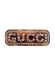 Gucci заколка для волос с логотипом из кристаллов