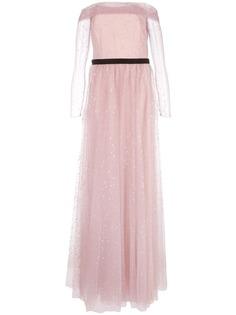 Marchesa Notte вечернее платье из тюля с открытыми плечами