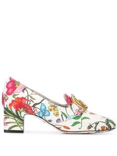 Gucci туфли с принтом Flora и логотипом GG