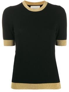Gucci трикотажная футболка с контрастной окантовкой