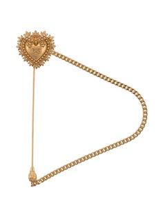 Dolce & Gabbana брошь в форме сердца с гравированным логотипом