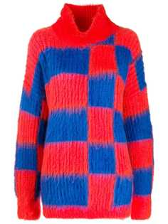 MSGM oversized roll-neck checkered jumper