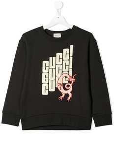 Gucci Kids свитер с круглым вырезом и логотипом