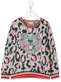 Kenzo Kids свитер с вышивкой Tiger