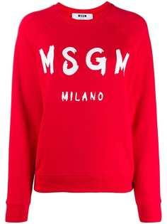 MSGM logo ribbed crew neck sweater