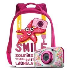 Цифровой фотоаппарат NIKON CoolPix W150, цветы, рюкзак