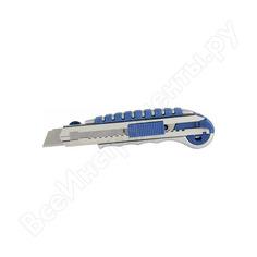 Технический нож, лезвия 18мм 6шт, металлический корпус, автостоп, доп.фиксатор кобальт 242-113