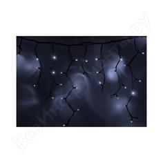 Гирлянда neon-night айсикл /бахрома/, 4,0 х 0,6 м, черный каучук ip65, 128 led белые 255-225