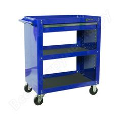 Открытая тележка, 3 полки и ящик, синяя мастак 520-01580b
