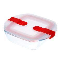 Форма для запекания и хранения квадратная с пластиковой крышкой и зажимами по бокам 14х12см Pyrex