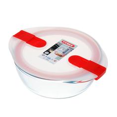Форма для запекания и хранения круглая с пластиковой крышкой и зажимами по бокам 20х18см Pyrex