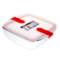 Форма для запекания и хранения квадратная с пластиковой крышкой и зажимами по бокам 25х22см Pyrex