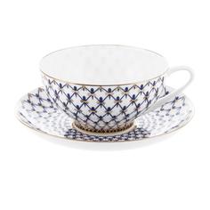 Чашка с блюдцем чайные куполь кобальтовая сетка Ифз