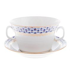 Чашка с блюдцем ЛФЗ бульонные, форма молодежная - кобальтовая сетка
