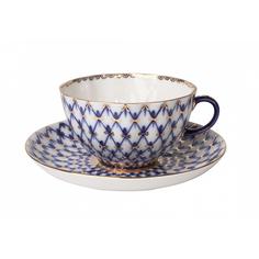 Чашка с блюдцем чайная, форма тюльпан - кобальтовая сетка Лфз