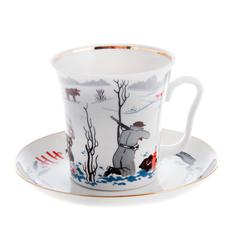 Бокал с блюдцем чайный, форма ленинградский - ни пуха ни пера ЛФЗ