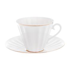 Чашка с блюдцем чайная, форма лучистая - белоснежка Лфз