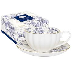 Чашка с блюдцем 0.2л голубые пионы R2s